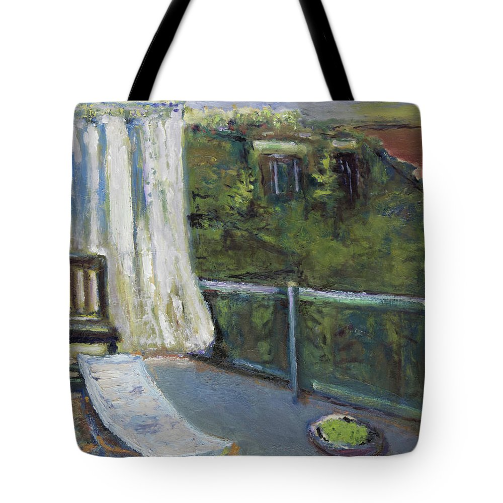 White Curtain Tote Bag featuring the painting White Curtain View by Craig Newland