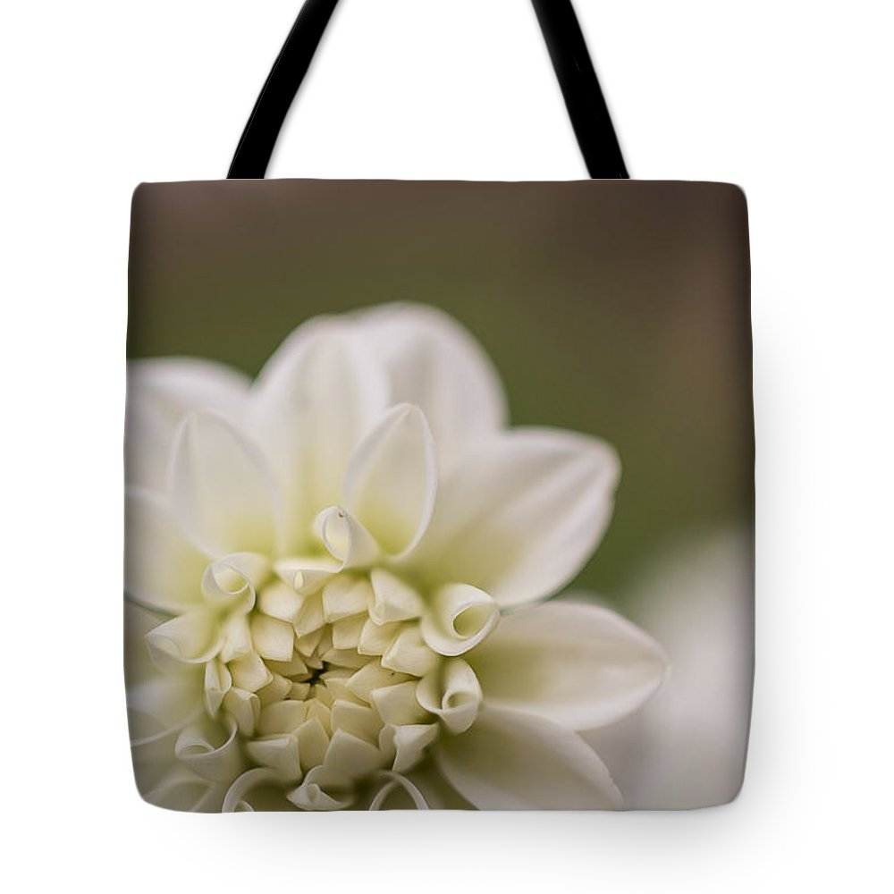 Macro Tote Bag featuring the photograph White Dahlia by Claire Farrell