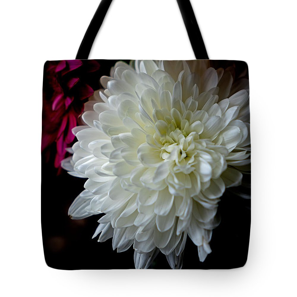 White Tote Bag featuring the photograph White Dahlia by Leanne Lei