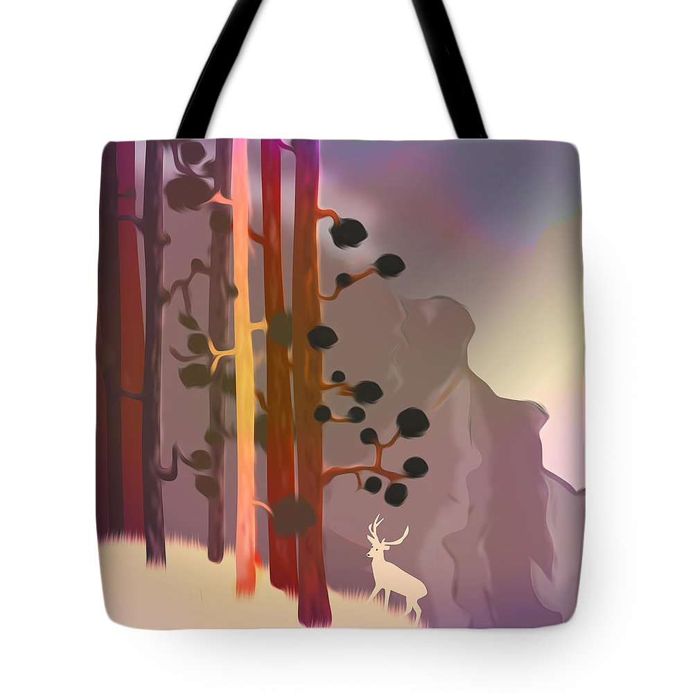 Painting Tote Bag featuring the digital art White Deer Climbing Mountains - Abstract And Colorful Forest by Jean-Pierre Prieur