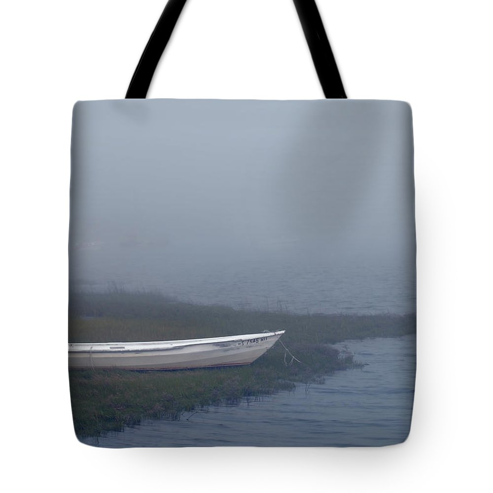 Cape Cod Tote Bag featuring the photograph White Dory In Fog by Lee Fortier