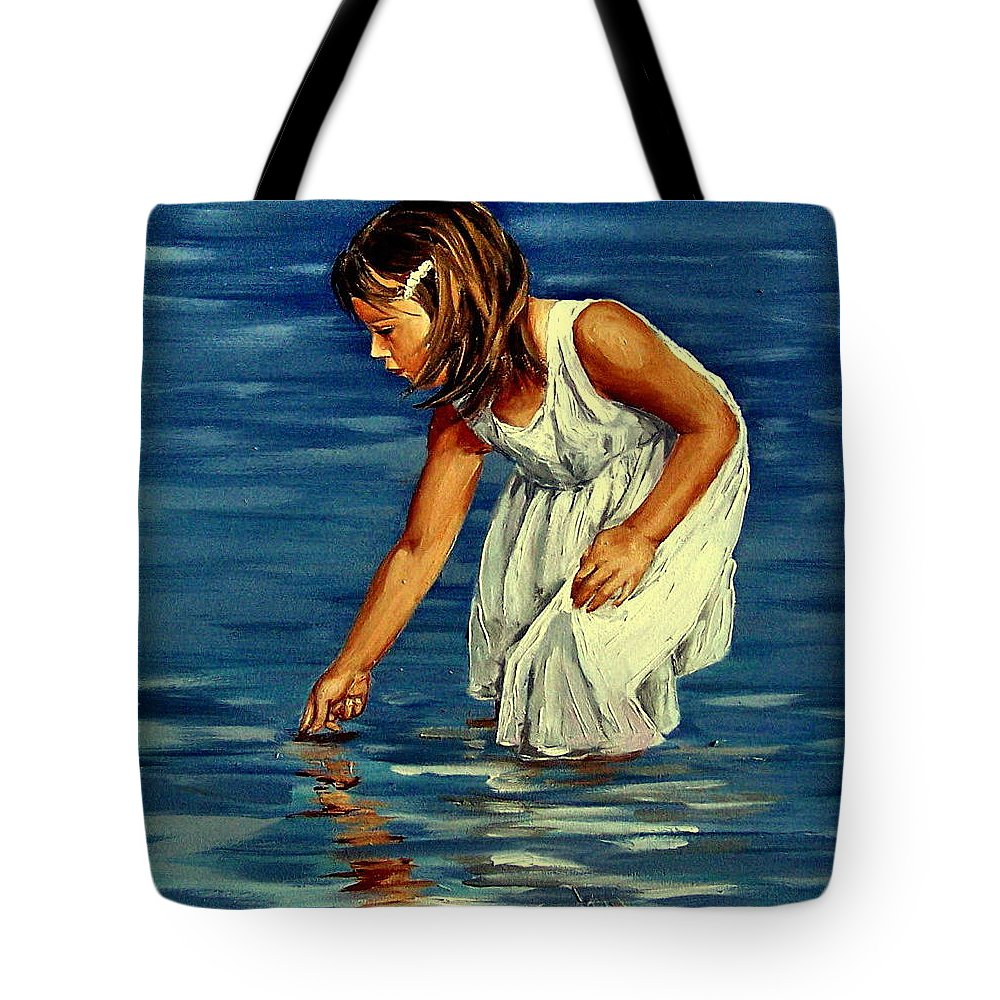 Girl Tote Bag featuring the painting White Dress by Natalia Tejera