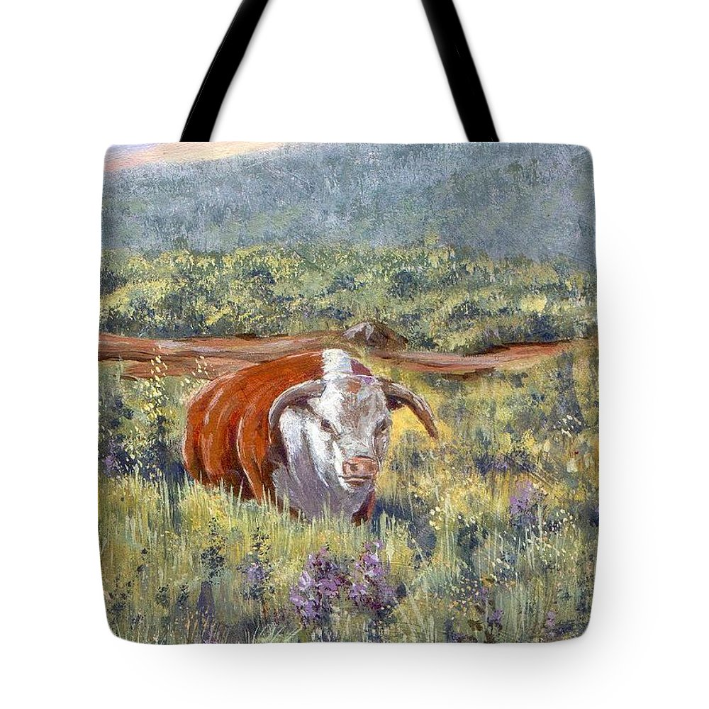 Hereford Bull Tote Bag featuring the painting White Face Bull by Peggy Conyers