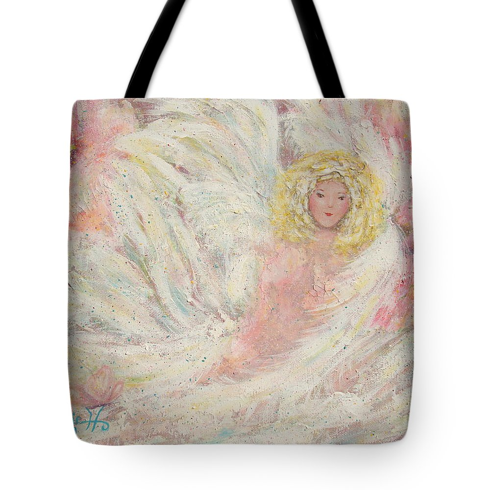 Angel Tote Bag featuring the painting White Feathers Secret Garden Angel 4 by Natalie Holland