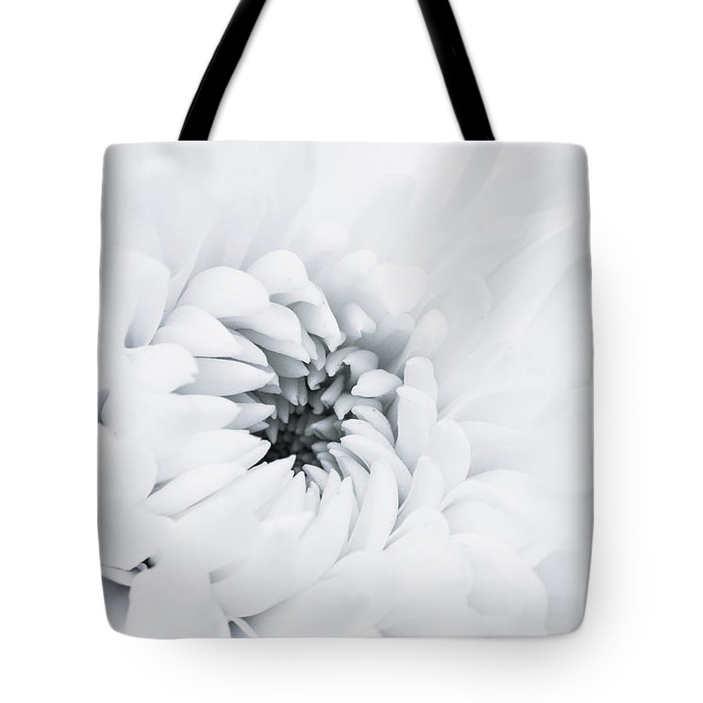 White Tote Bag featuring the photograph White Flower by Mohammed Alghamdi