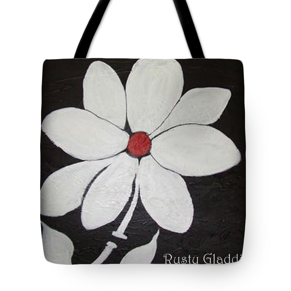 Contemporay Tote Bag featuring the painting White Flower by Rusty Gladdish