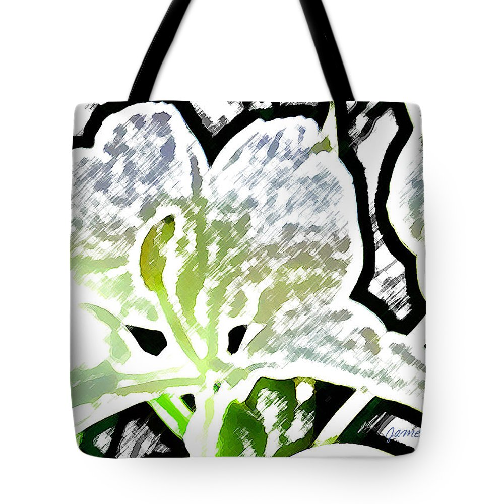 Ginger Tote Bag featuring the digital art White Ginger by James Temple