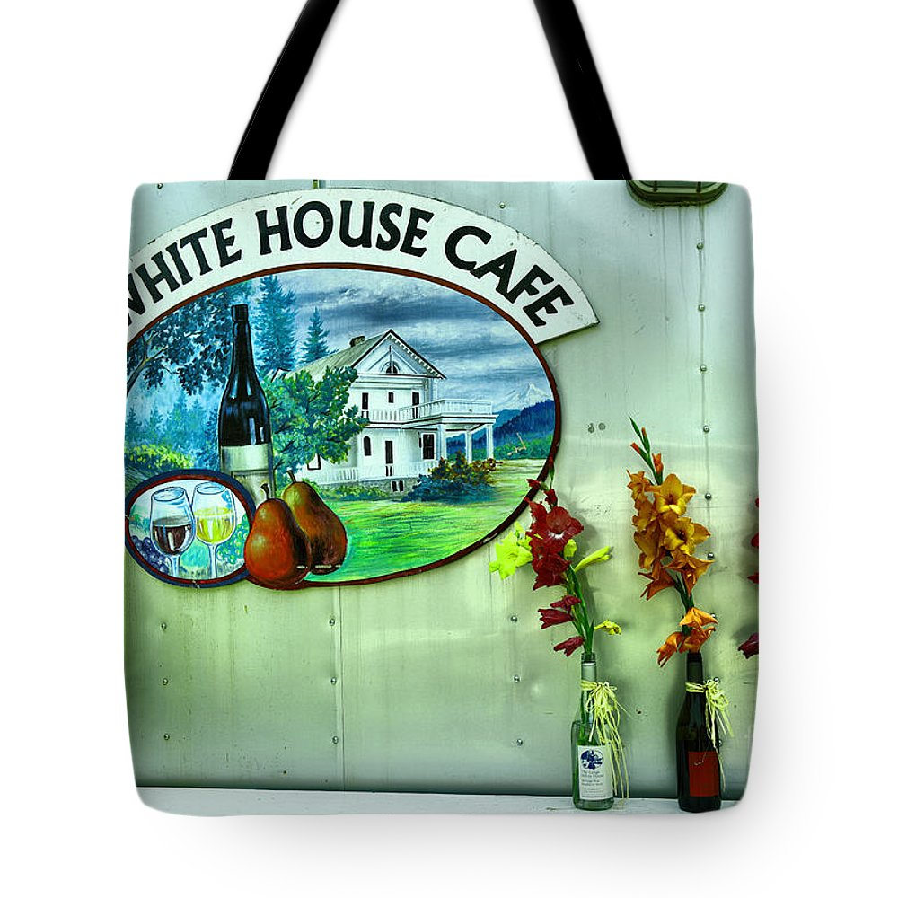 White House Cafe Tote Bag featuring the photograph White House Cafe by Jeff Swan
