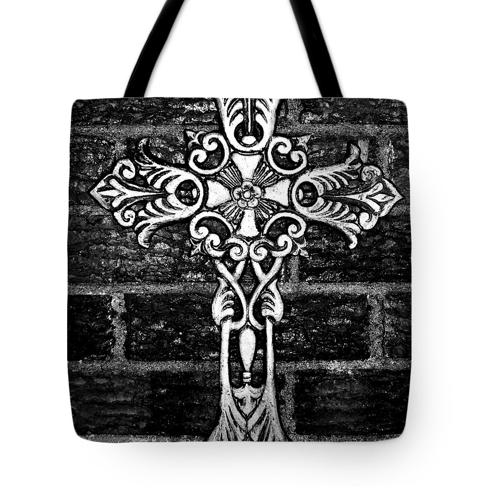 Iron Tote Bag featuring the photograph White Iron Cross Bw by Angelina Vick