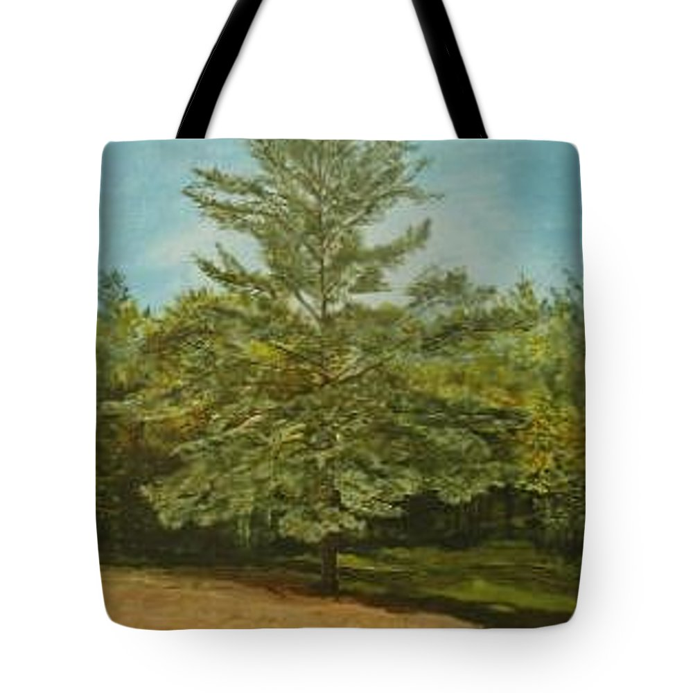 Pine Tree Tote Bag featuring the painting White Lake by Leah Tomaino