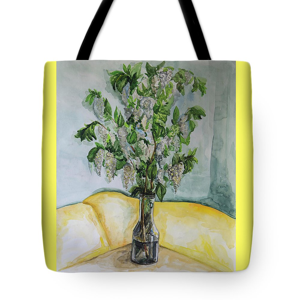 Watercolor Tote Bag featuring the painting White Lilac by Yana Sadykova