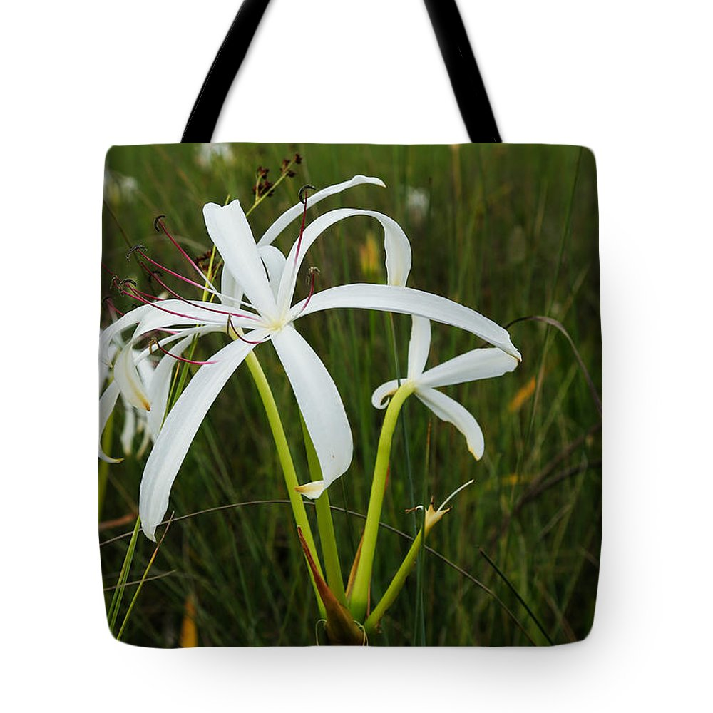 Lily Tote Bag featuring the photograph White Lilies In Bloom by Christopher L Thomley