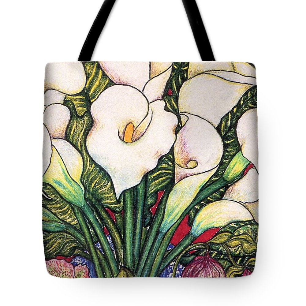 White Lilies Tote Bag featuring the pastel White Lilies by Richard Lee
