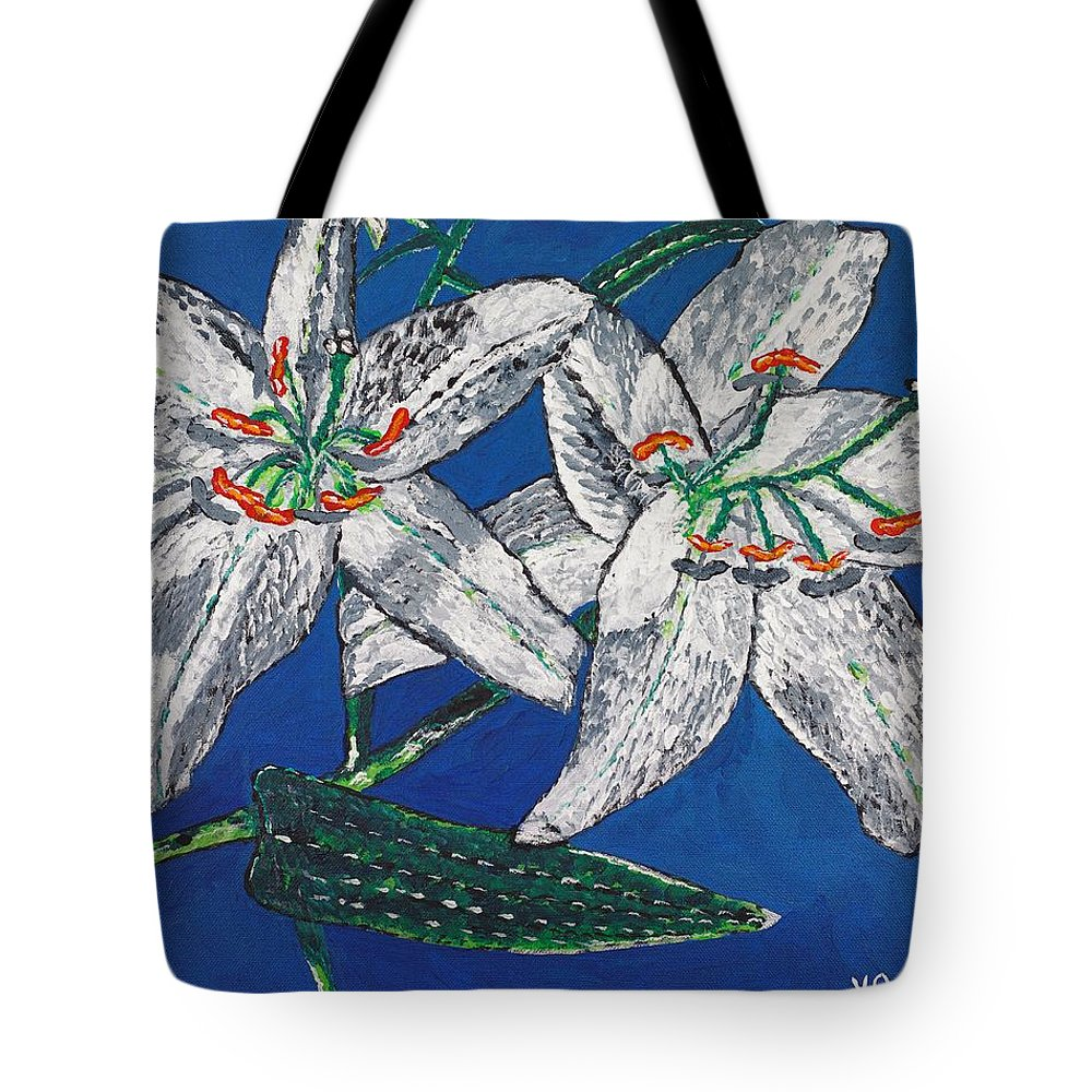 Flower Tote Bag featuring the painting White Lilies by Valerie Ornstein