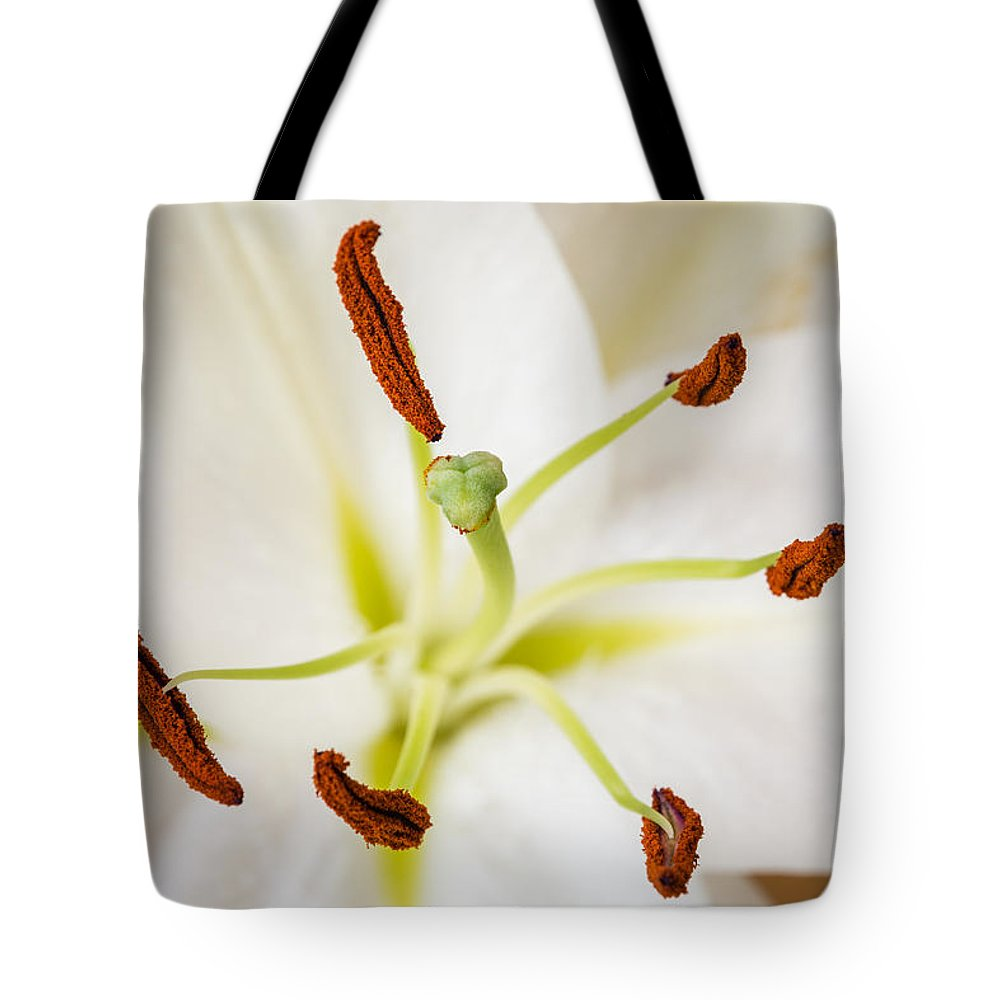Bloom Tote Bag featuring the photograph White Lily Macro by David Head