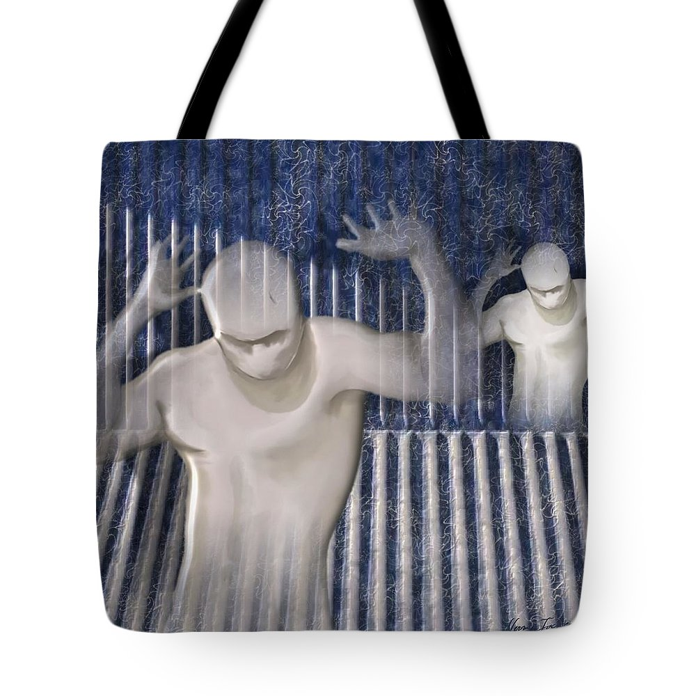 Drugs Prison Waste Fear Hell Tote Bag featuring the mixed media White Lines by Veronica Jackson