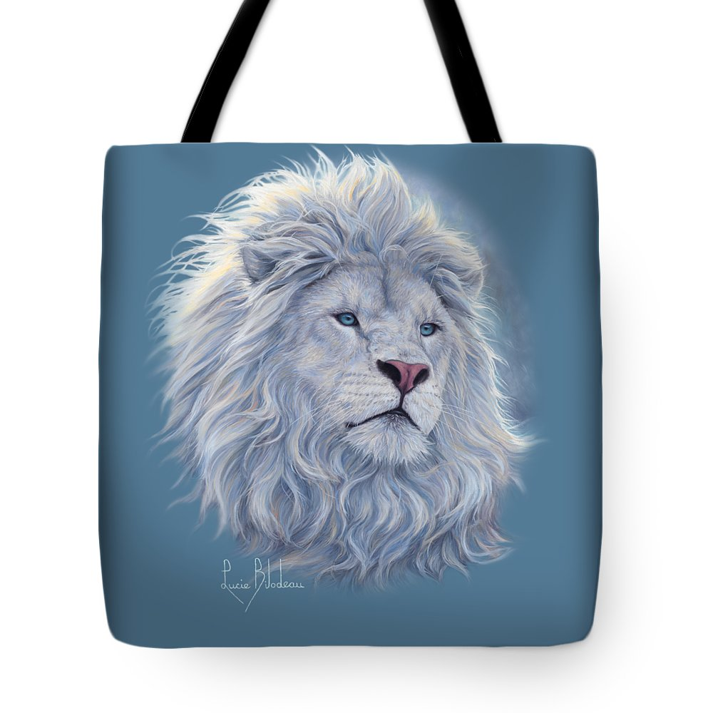White Lion Tote Bag featuring the painting White Lion by Lucie Bilodeau