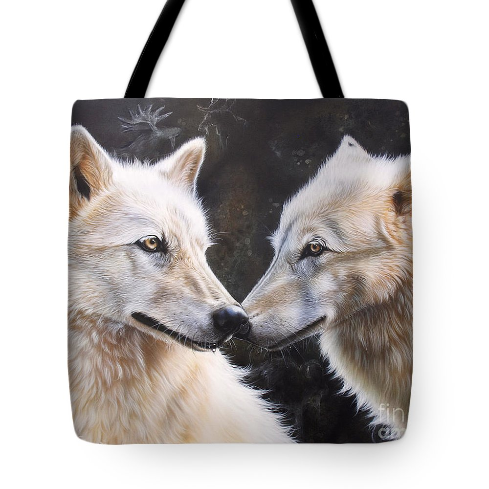 Acrylic Tote Bag featuring the painting White Magic by Sandi Baker
