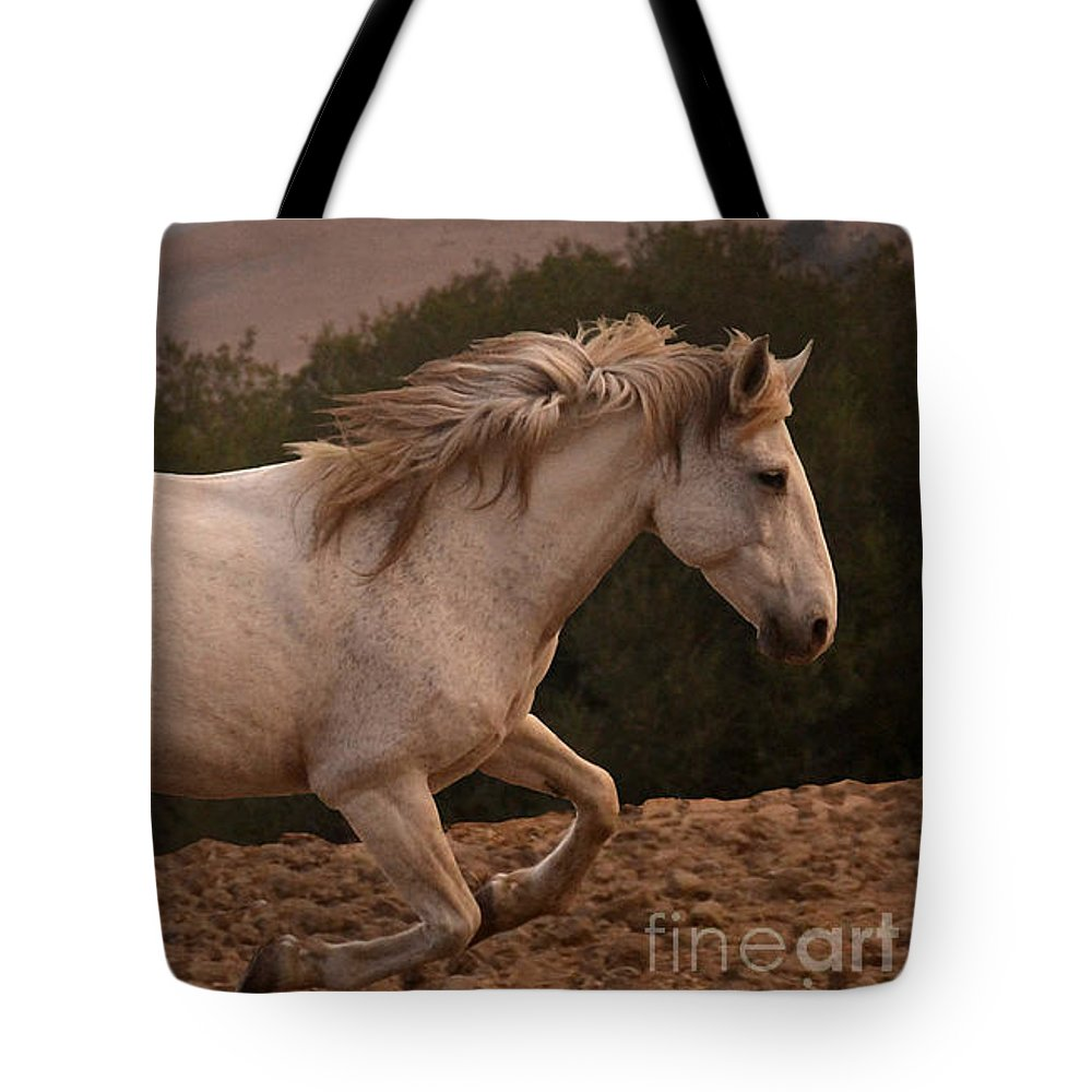 Rtf Ranch Tote Bag featuring the photograph White Mare Gallops #1 - Close Up Brighter by Heather Kirk