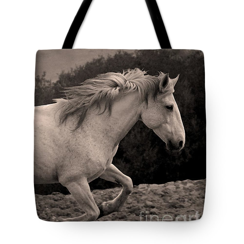 Rtf Ranch Tote Bag featuring the photograph White Mare Gallops #1 - Close Up Sepia by Heather Kirk