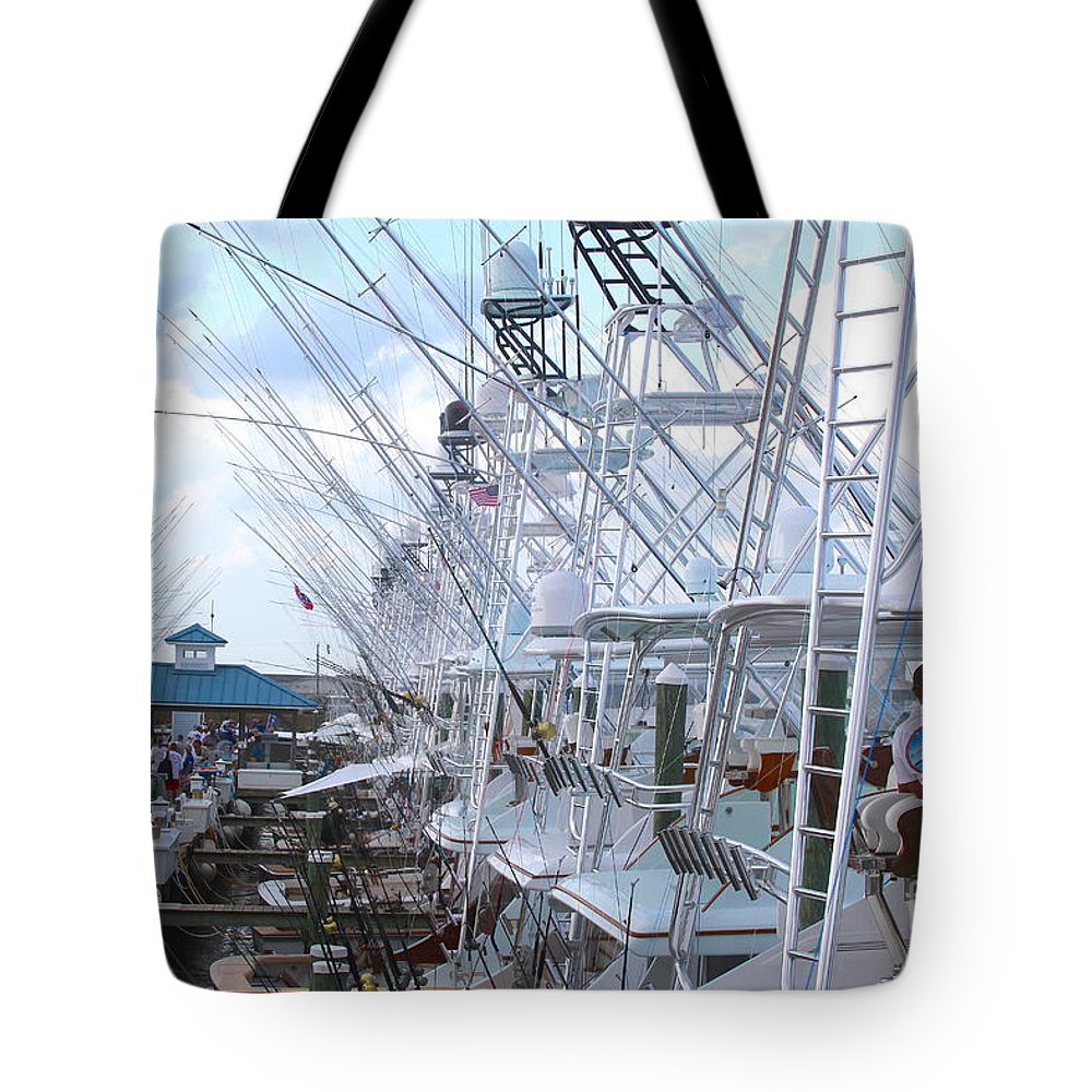 White Marlin Tote Bag featuring the photograph White Marlin Open Docks by Carey Chen