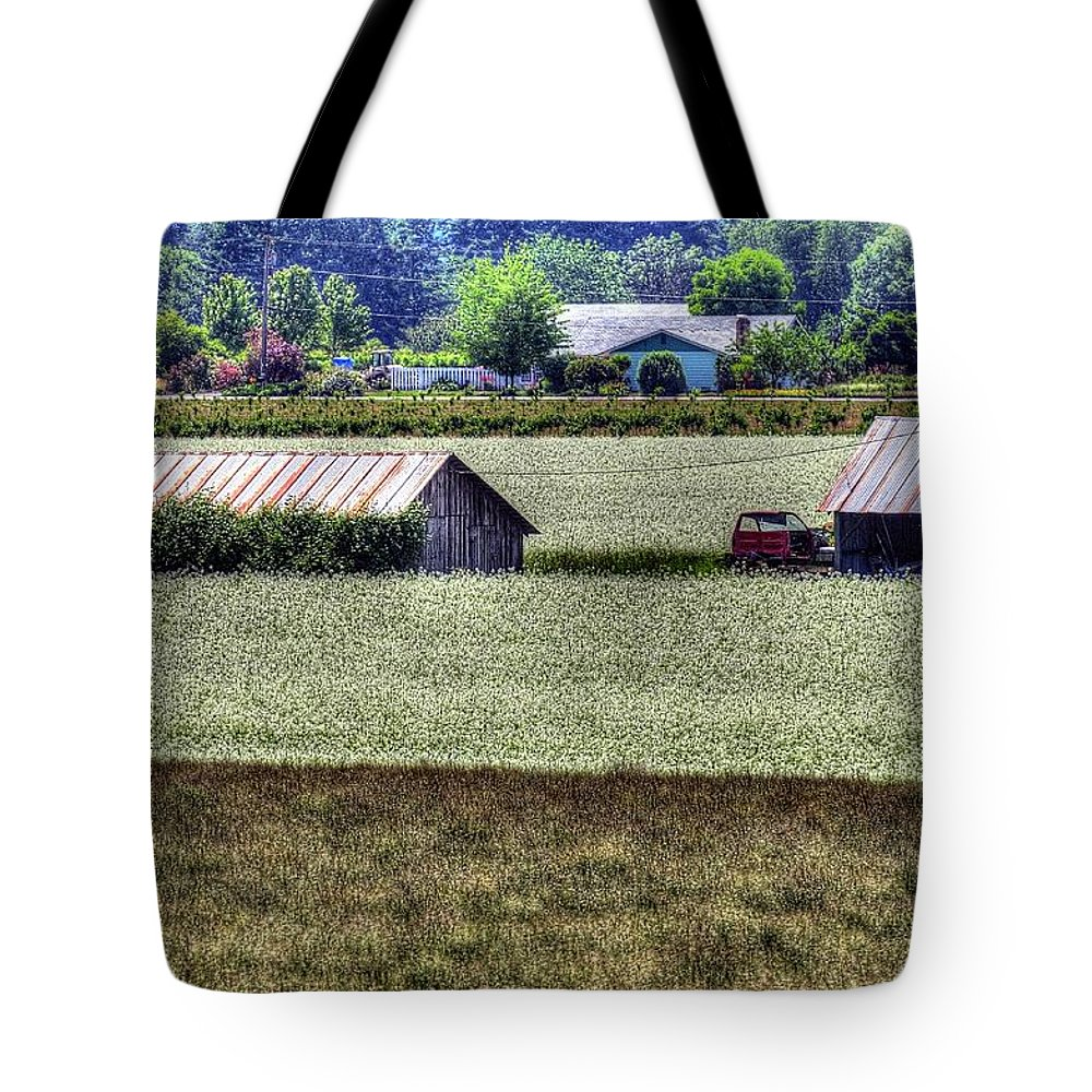 White Tote Bag featuring the photograph White Mustard Sheds 1584 by Jerry Sodorff