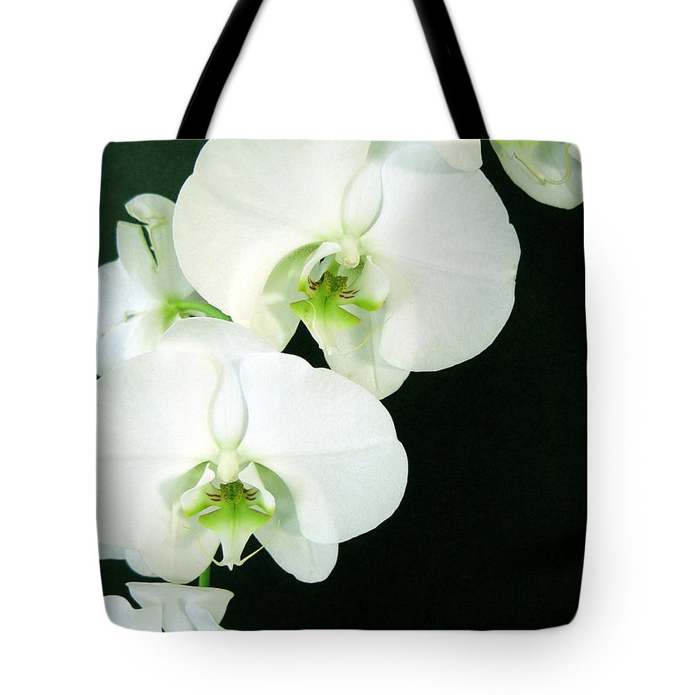 Flora Tote Bag featuring the photograph White Orchid Elegance by Cheryl Ehlers