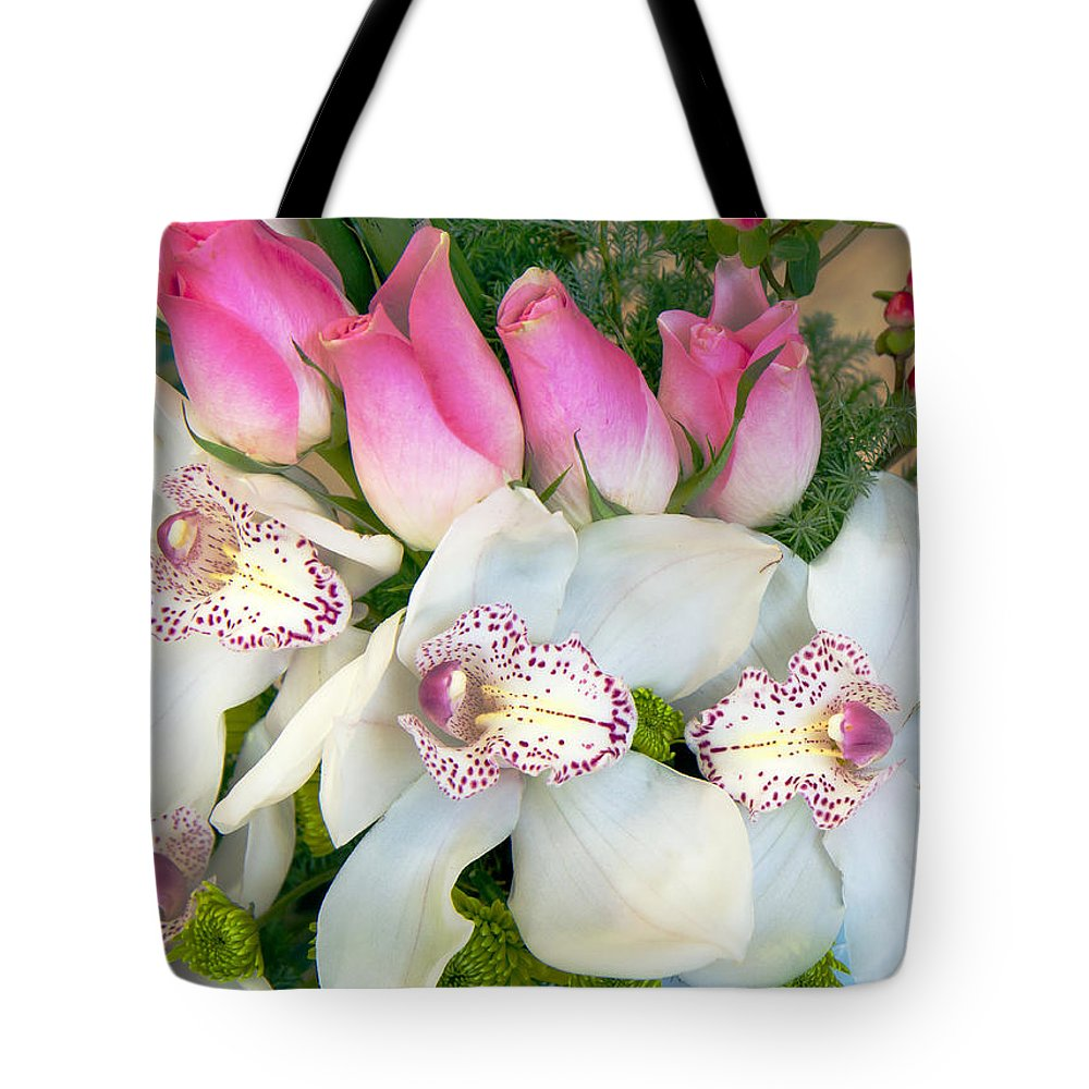 Bouquet Tote Bag featuring the photograph White Orchids by Galina Savina