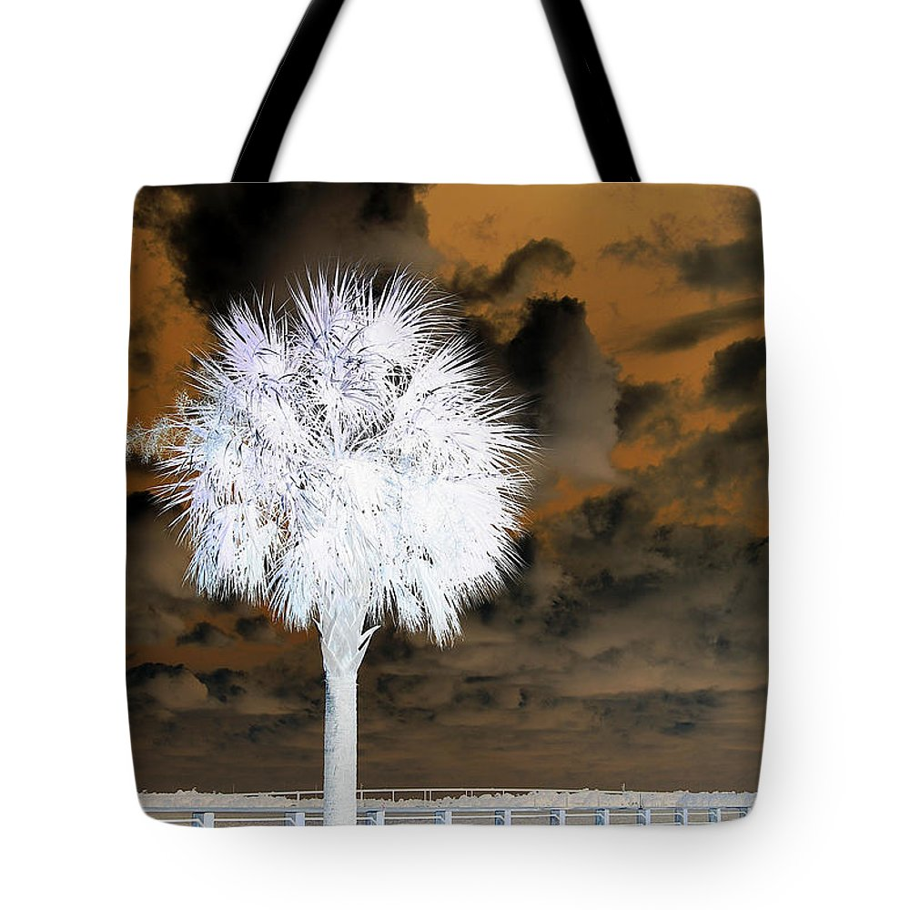 Palm Tree Tote Bag featuring the photograph White Palm by Donna Bentley