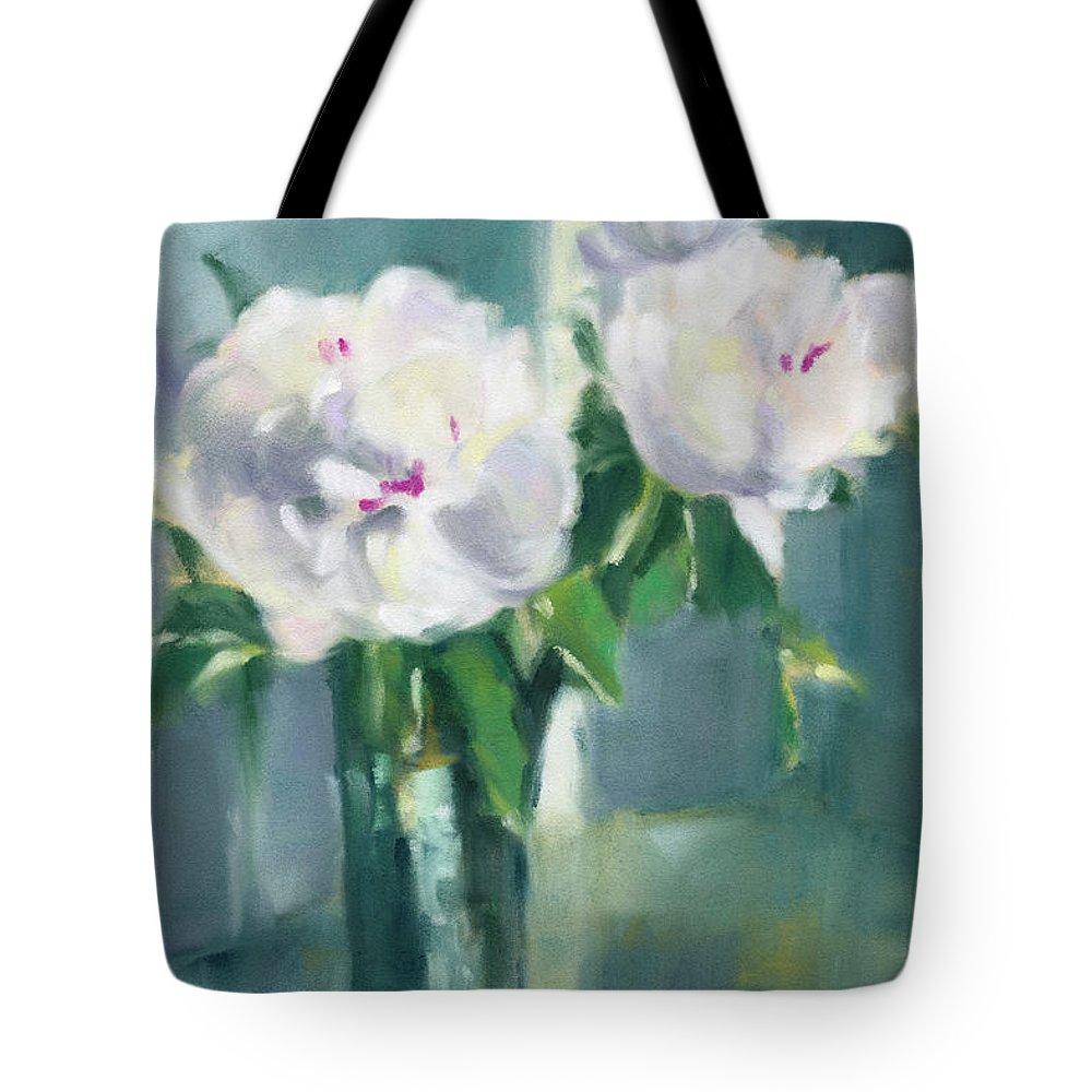 White Peony Tote Bags