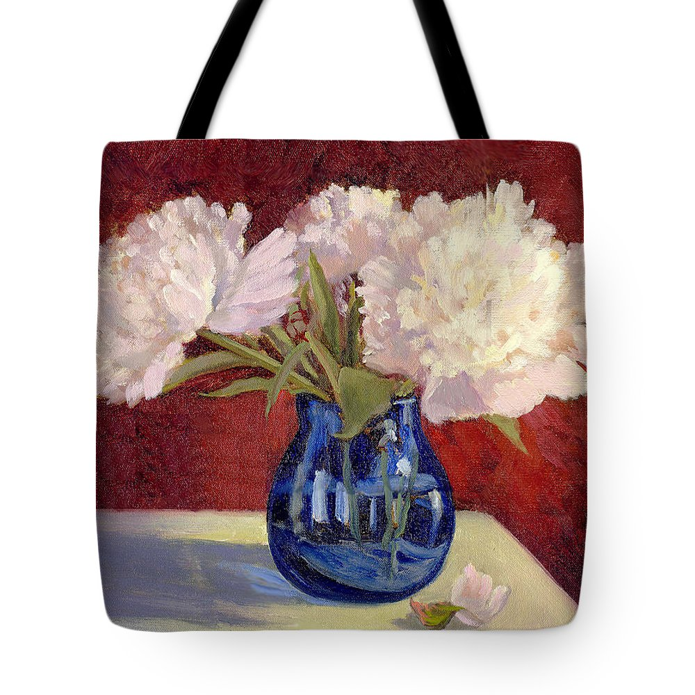 Peonies Tote Bag featuring the painting White Peonies by Keith Burgess