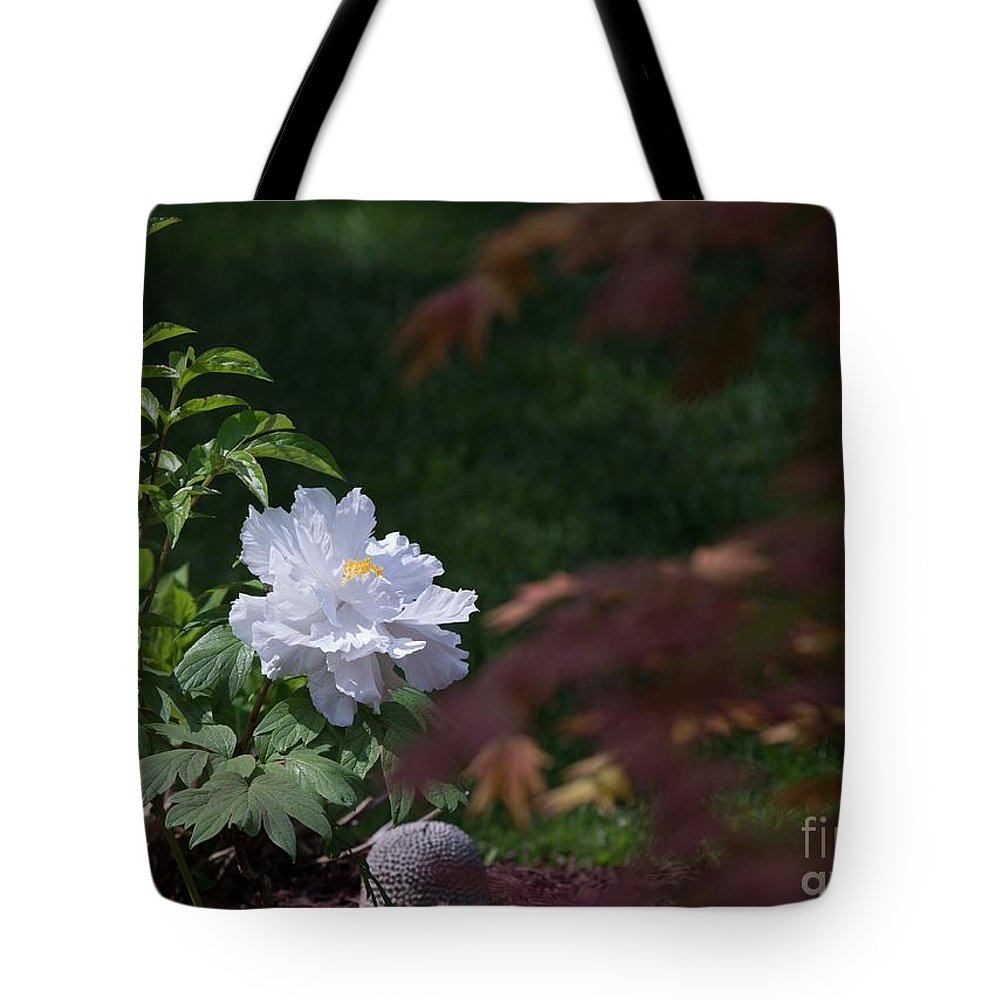 White Tote Bag featuring the photograph White Peony by David Bearden