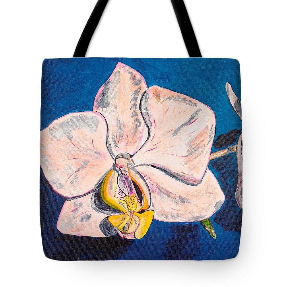 Flower Tote Bag featuring the painting White Phalaenopsis Orchids by Valerie Ornstein