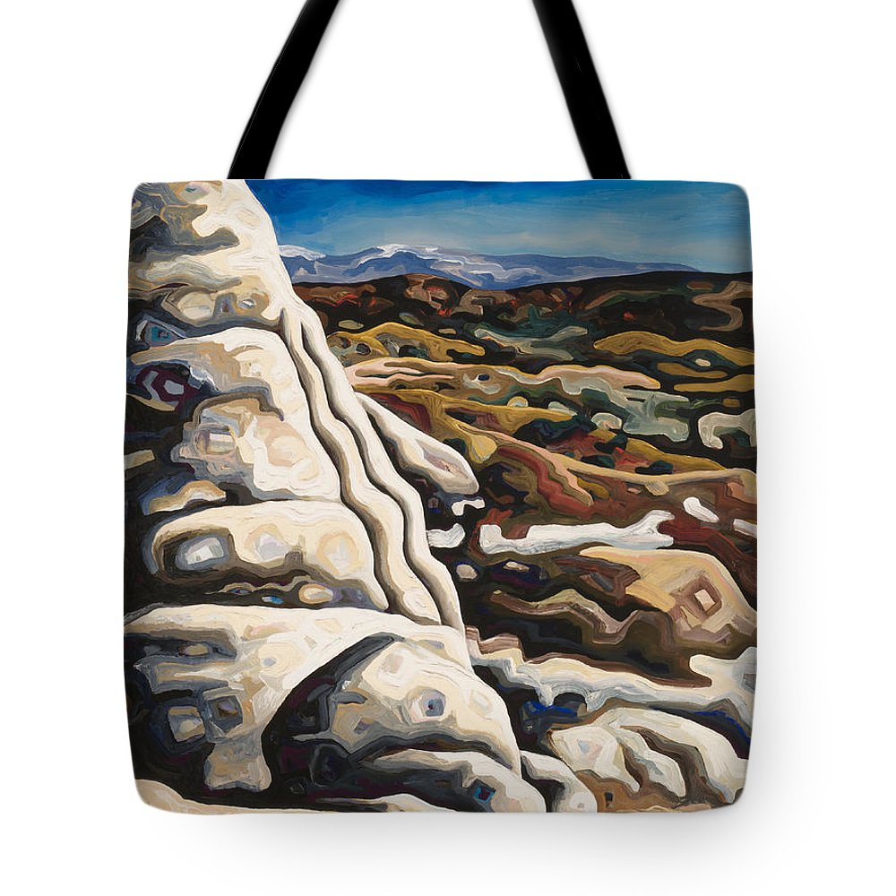 Contemporary Landscape Painting Tote Bag featuring the painting White Pillar by Dale Beckman