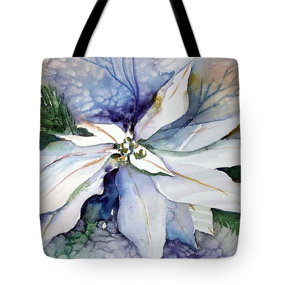Floral Tote Bag featuring the painting White Poinsettia by Mindy Newman