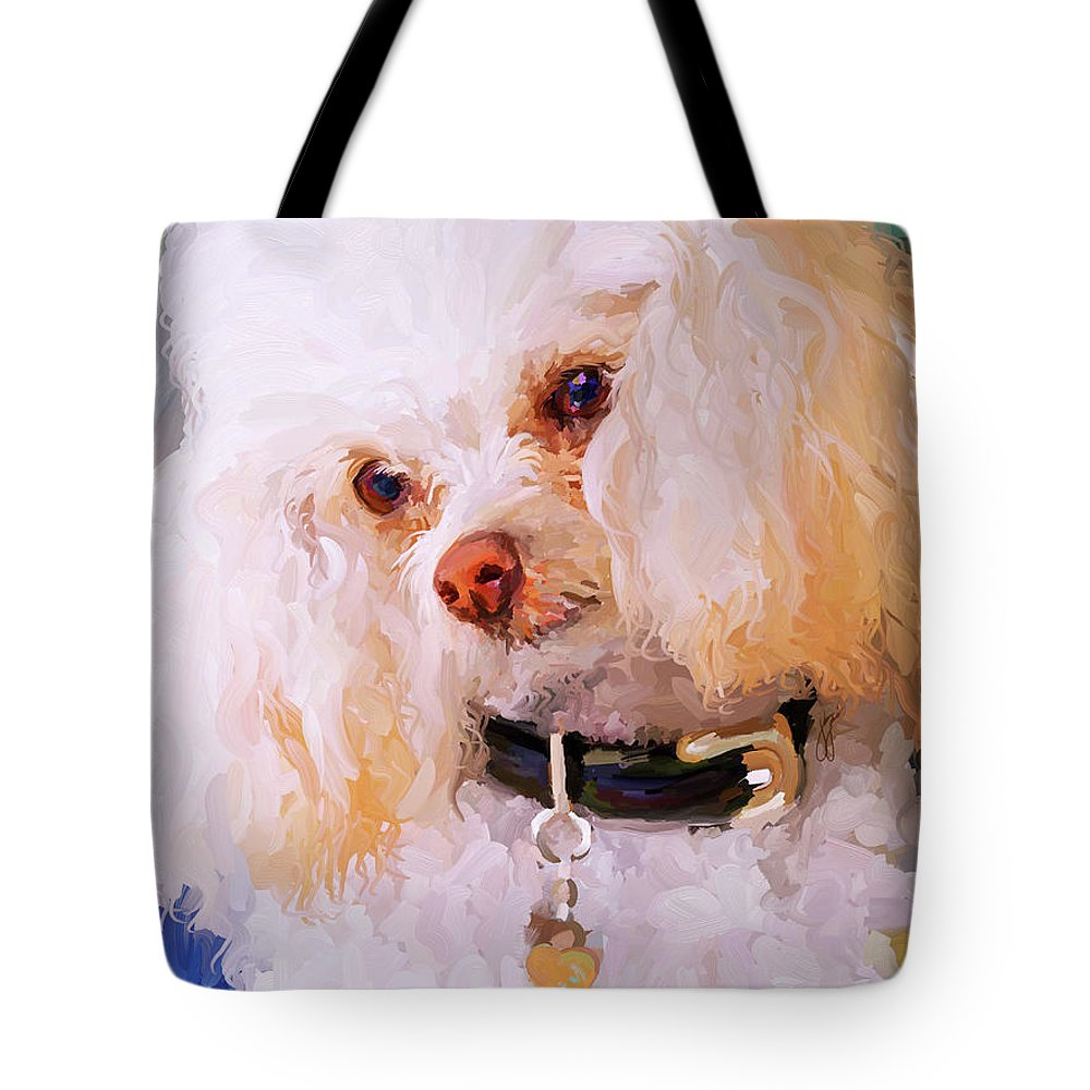 White Tote Bag featuring the painting White Poodle by Jai Johnson