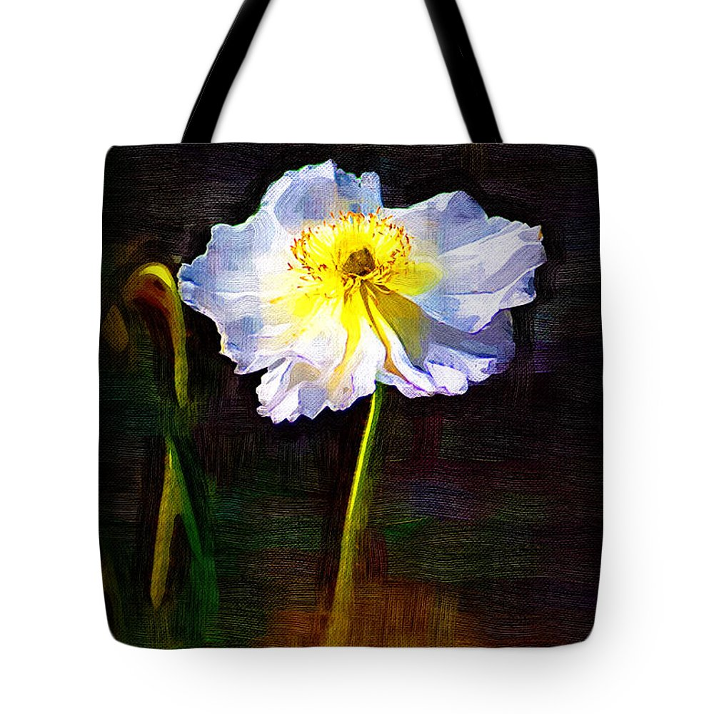 White Poppy Tote Bag featuring the photograph White Poppy by Donna Bentley