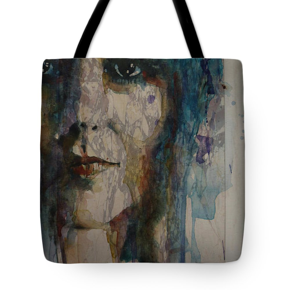 Grace Slick Tote Bag featuring the painting White Rabbit by Paul Lovering