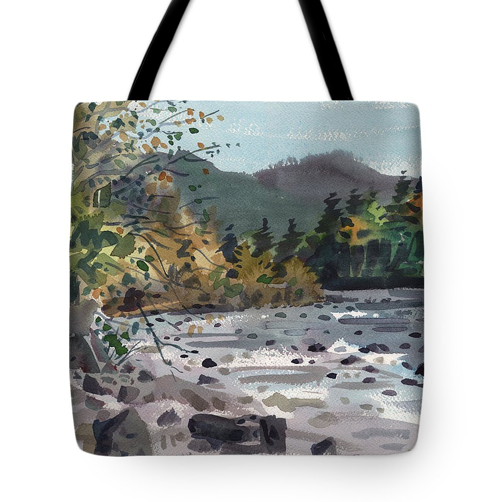 White River Tote Bag featuring the painting White River In Autumn by Donald Maier