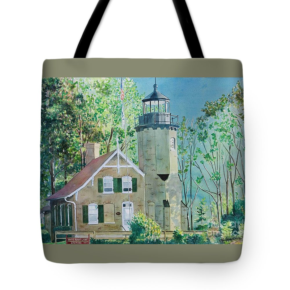 Michigan Tote Bag featuring the painting White River Light by LeAnne Sowa