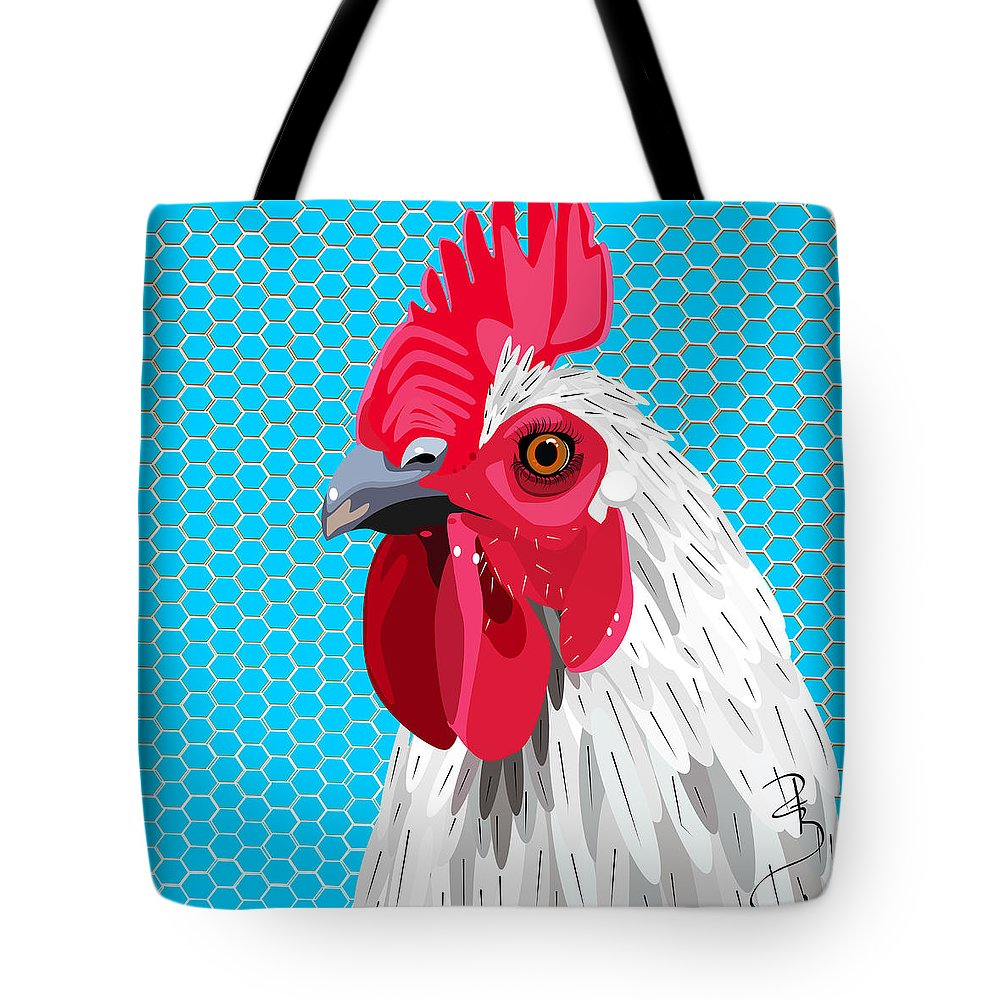 Agriculture Tote Bag featuring the digital art White Rooster With Blue Background by Debra Baldwin