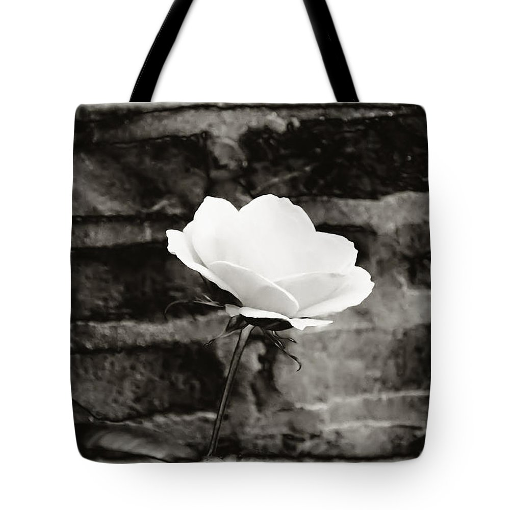 Brick Wall Tote Bag featuring the photograph White Rose In Black And White by Bill Cannon