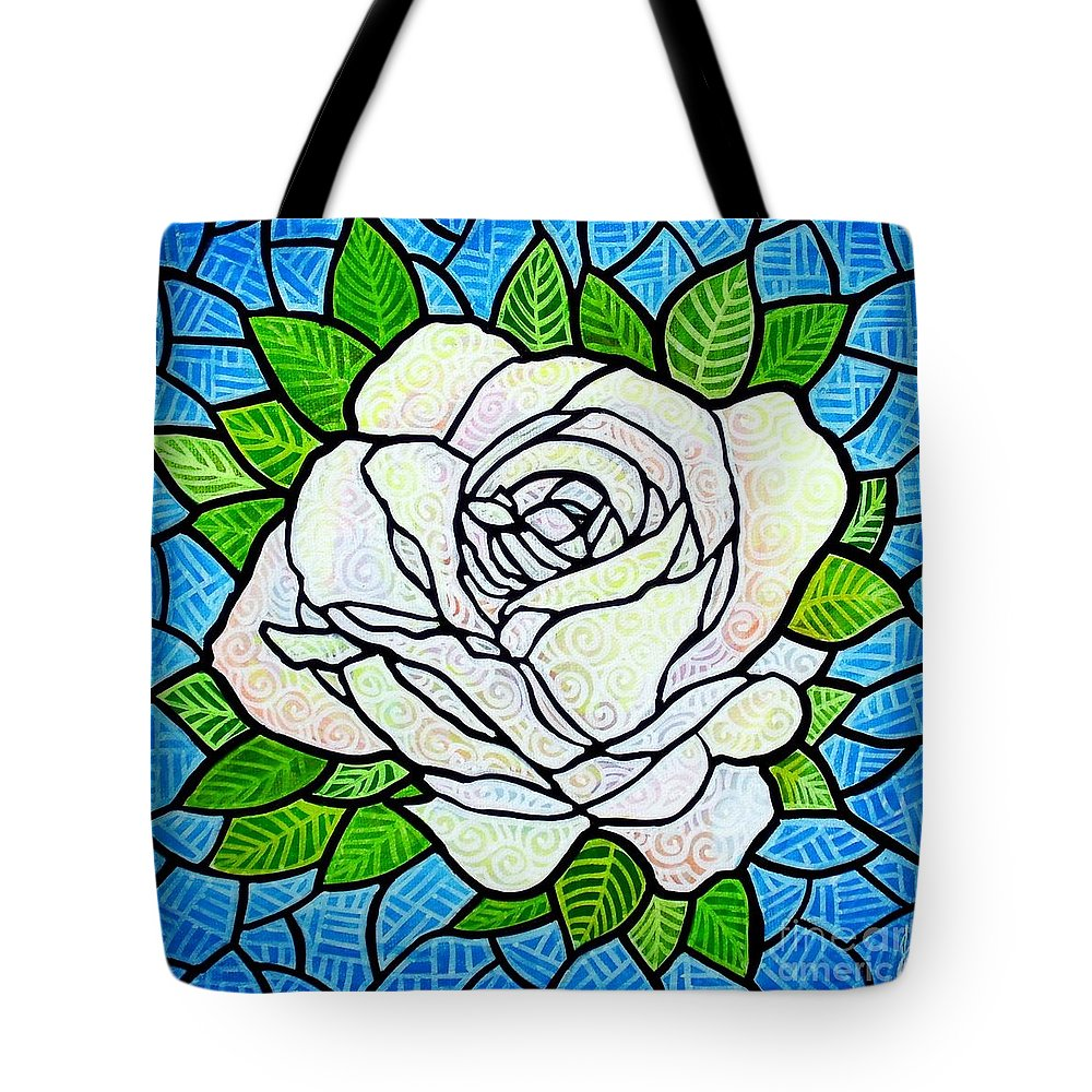 White Tote Bag featuring the painting White Rose by Jim Harris