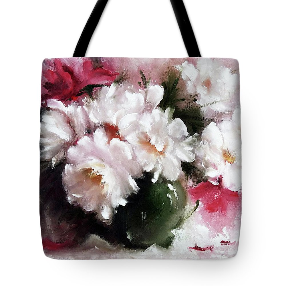 Roses Tote Bag featuring the painting White Roses by Kristina Kalcheva