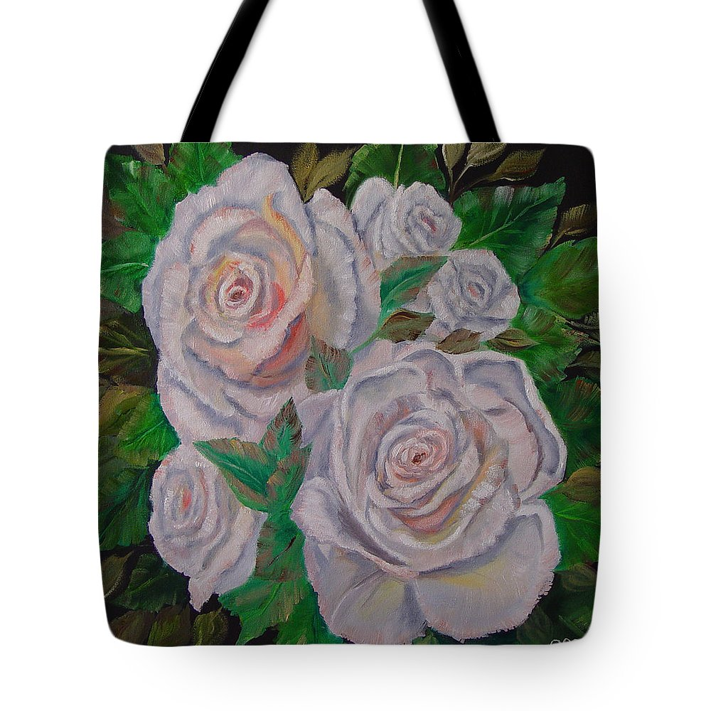 Roses Tote Bag featuring the painting White Roses by Quwatha Valentine