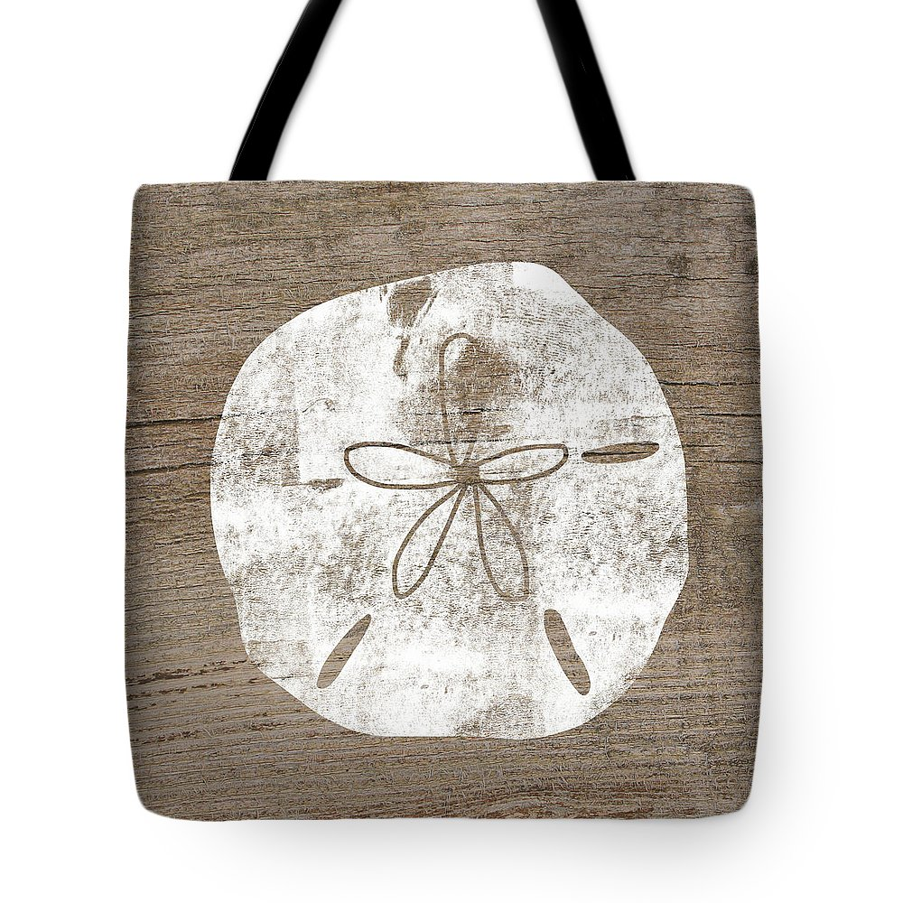 Wood Tote Bag featuring the mixed media White Sand Dollar- Art By Linda Woods by Linda Woods