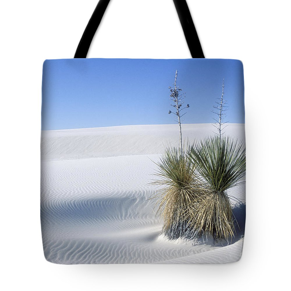 White Sands Tote Bag featuring the photograph White Sands Dune And Yuccas by Sandra Bronstein