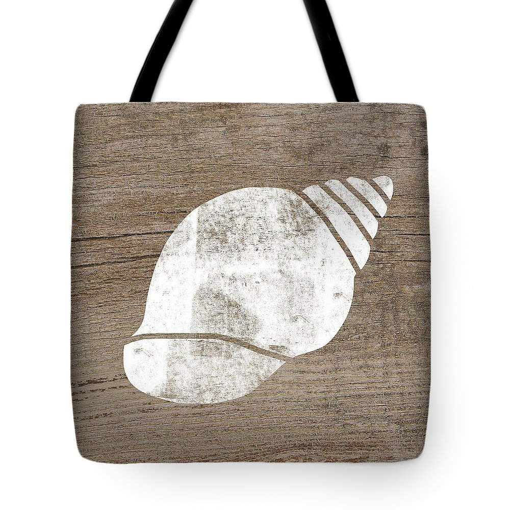 Wood Tote Bag featuring the mixed media White Seashell- Art By Linda Woods by Linda Woods