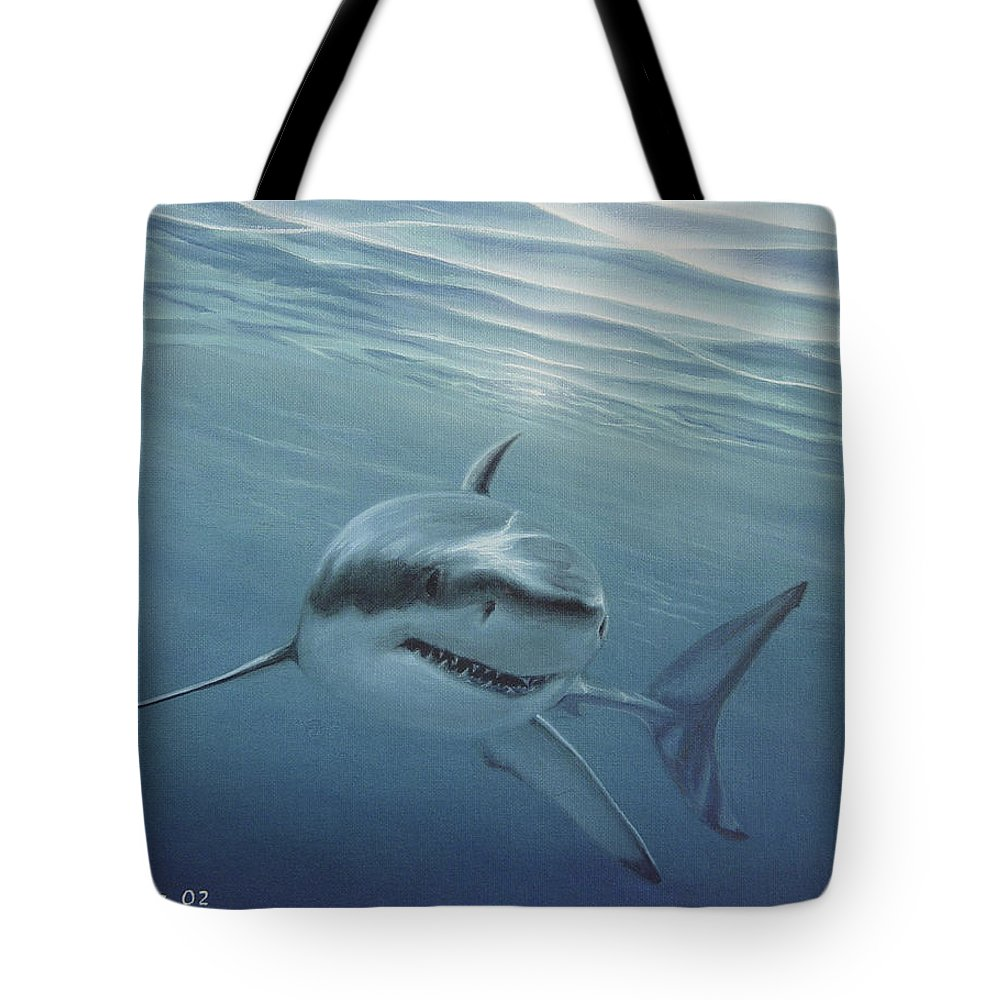 Shark Tote Bag featuring the painting White Shark by Angel Ortiz