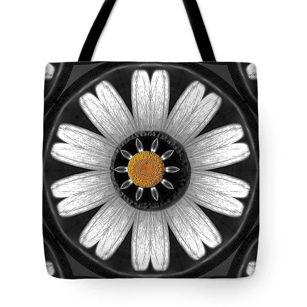Flower Tote Bag featuring the mixed media White Shimmering Flower by Pepita Selles